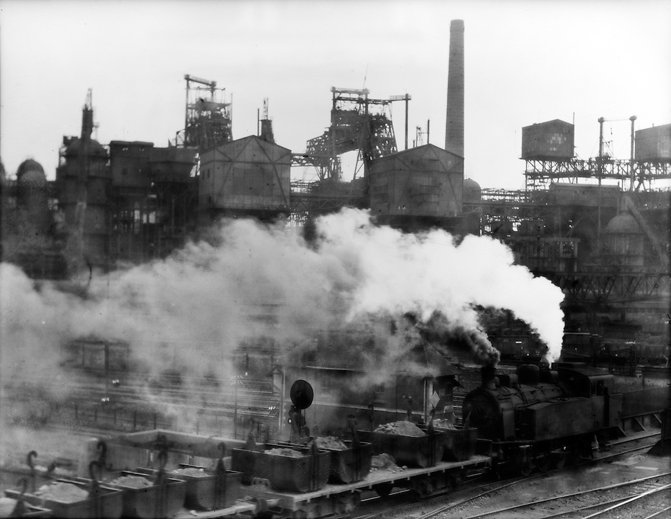 Smoking Train in Factory Yard, Vereinigte Stahlwerke (United Steelworks), Dortmund, 1928