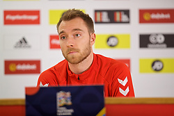 CARDIFF, WALES - Thursday, November 15, 2018: Denmark's captain Christian Eriksen during a press conference at the Cardiff City Stadium ahead of the UEFA Nations League Group Stage League B Group 4 match between Wales and Denmark. (Pic by David Rawcliffe/Propaganda)