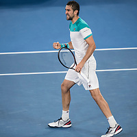 Marin Cilic of Croatia during the championship match of the 2018 Australian Open on day 14 at Rod Laver Arena in Melbourne, Australia on Sunday afternoon January 28, 2018.<br /> (Ben Solomon/Tennis Australia)