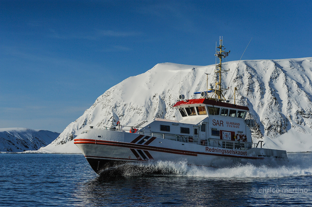 Honningsvag, The RS Ulabrand, a rescue boat of the Rednings Seiskapet, the Norway's humanitarian, voluntary, membership-based organisation to save lifes and safeguard the coastal environment.