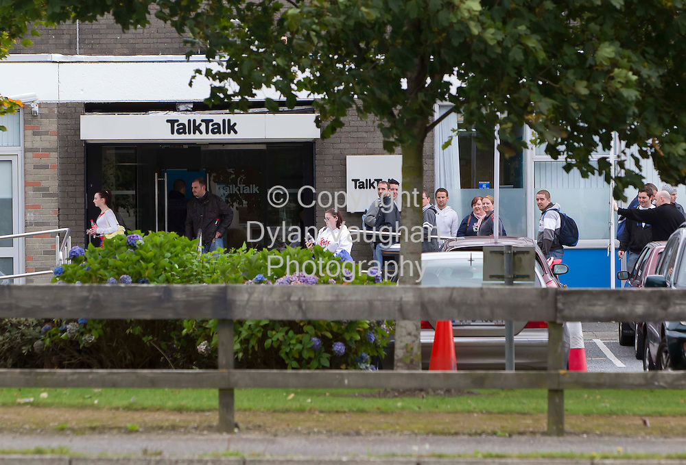 7/9/2011.Workers pictured leaving the Talk Talk Call center in Waterford yesterday after a meeting with management over the closure of the center..Picture Dylan Vaughan.