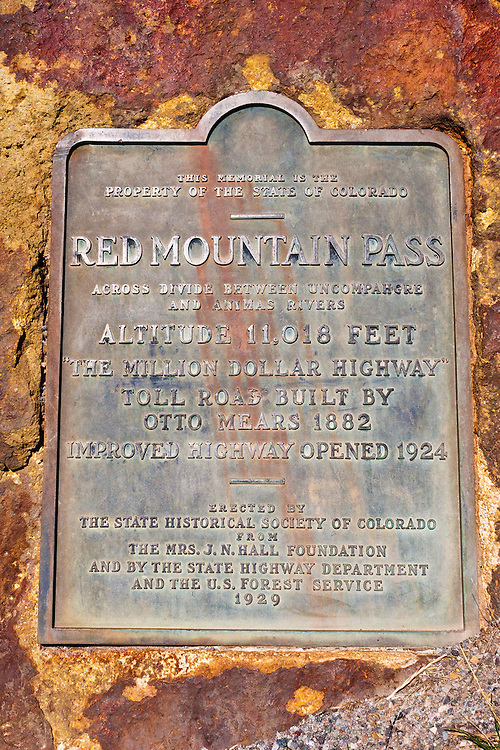 Red Mountain Pass plaque on the San Juan Skyway (Highway 550), Uncompahgre National Forest, Colorado