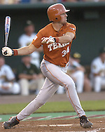 Texas first basemen Chance Wheeless singles to left field in the eighth inning against Baylor.  Texas defeated Baylor in the first round of the College World Series 5-1 at Rosenblatt Stadium in Omaha, Nebraska on June 18, 2005.