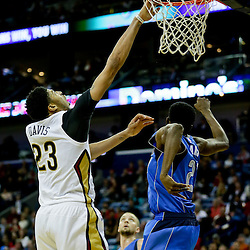 Jan 6, 2016; New Orleans, LA, USA; New Orleans Pelicans forward Anthony Davis (23) misses a dunk as Dallas Mavericks forward Jeremy Evans (21) defends during the second half of a game at the Smoothie King Center. The Mavericks defeated the Pelicans 100-91. Mandatory Credit: Derick E. Hingle-USA TODAY Sports