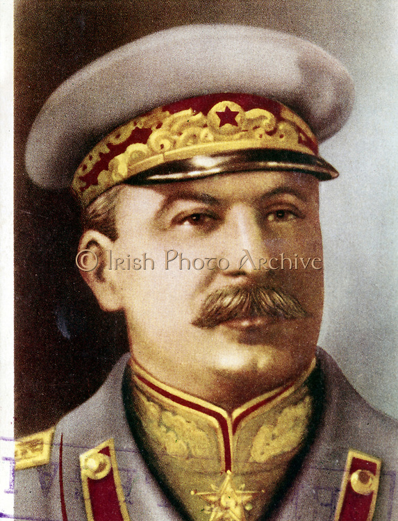 Joseph Stalin, Soviet leader, c1945. Head and shoulders portrait of Stalin in military uniform. Born Iosif Vissarionovich Dzhugashvili, Stalin (1879-1953) became General Secretary of the Central Committee of the Russian Communist Party in 1922, and after the death of Lenin in 1924, effectively became ruler of the Soviet Union. Stalin's rule saw massive social and economic upheaval. Soviet Russia was transformed into a major economic and military power, but millions died as a result of agricultural collectivization, political repression and in the struggle against Nazi Germany in the Second World War.