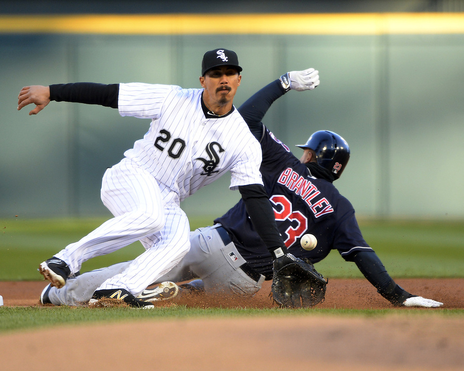 CHICAGO - APRIL 22:  Tyler Saladino #20 of the Chicago White Sox fields against the Cleveland Indians on April 22, 2017 at Guaranteed Rate Field in Chicago, Illinois.  The Indians defeated the White Sox 7-0.  (Photo by Ron Vesely)   Subject:  Tyler Saladino