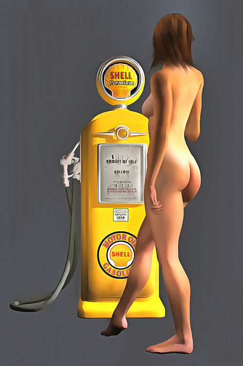 Combining an iconic Shell gas station pump with a beautiful, nude woman, this fine art piece is a truly fascinating approach to pop art. The level of detail in this piece is simply astonishing, particularly in terms of the Shell Gasoline pump. The striking yellow of the gas pump is also worth appreciating. This is certainly true when you compare that yellow to the blank backdrop. The woman is facing away from us, so we can't be certain what she might be thinking. Even so, this woman is clearly enthralled with the gas pump. You can imagine this piece in any space you want. .<br />