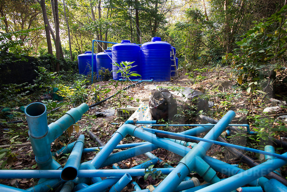 Blue water tanks and pipes in the jungle surrounding Nimmanoradee Resort, Koh Samed, Thailand, Southeast Asia