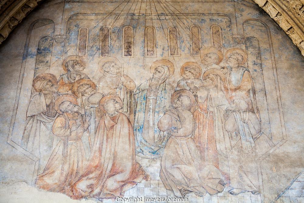 Faded Historic art fresco, the Leon Cathedral, iconic religious symbolism
