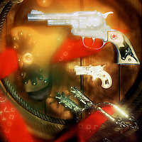 Western cap pistols. Colt 45, Texas Ranger and matching Derringer.