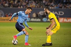 November 5, 2017 - Bronx, New York, U.S - New York City FC defender ANDRAZ STRUNA (32) dribbles the ball against Columbus Crew forward JUSTIN MERAM (9) during leg 2 of the Eastern Conference Semifinal at Yankee Stadium, Bronx, NY.  NYCFC defeats Columbus Crew 2-0.  Columbus wins 4-3 on aggregate. (Credit Image: © Mark Smith via ZUMA Wire)