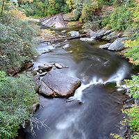 Fall foliage along the Chattooga River, near Highlands, North Carolina