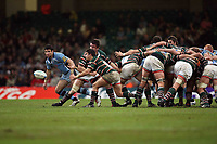 Photo: Rich Eaton.<br /> <br /> Cardiff Blues v Leicester Tigers. Heineken Cup. 29/10/2006. Harry Ellis passes from a scrum watched by Blues scrumhalf Mike Phillips