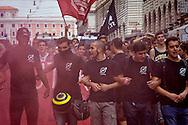 """Roma 9 Ottobre 2015<br /> Centinaia di studenti sono scesi in piazza a Roma per protestare contro la riforma della scuola  """"La buona Scuola"""" del Governo Renzi. <br /> Rome October 9, 2015<br /> Hundreds of students took to the streets in Rome to protest against school reform """"Good School"""" built by Italian Prime Minister Matteo Renzi."""
