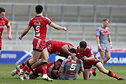 Fouad Yaha for Catalan Dragons stopped by for Salford Reds during the Betfred Super League match between Salford Red Devils and Catalan Dragons at the AJ Bell Stadium, Eccles, United Kingdom on 30 March 2018. Picture by George Franks.