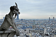 Gargoyle on the roof of the Notre Dame de Paris Cathedral with Paris cityscape in the background