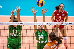 26-08-2017 NED: World Qualifications Bulgaria - Netherlands, Rotterdam<br /> De Nederlandse volleybalsters hebben in Rotterdam het kwalificatietoernooi voor het WK van volgend jaar in Japan ongeslagen afgesloten. Oranje was in z'n laatste wedstrijd met 3-0 te sterk voor Bulgarije: 25-21, 25-17, 25-23. / Hristina Ruseva #11 of Bulgaria, Emiliya Dimitrova #14 of Bulgaria