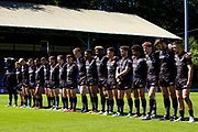 The Bulls stand for a minutes silence during the Kingstone Press Championship match between Halifax RLFC and Bradford Bulls at the MBi Shay Stadium, Halifax, United Kingdom on 2 July 2017. Photo by Simon Davies.