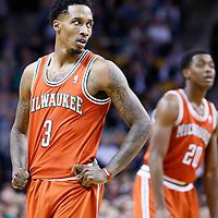21 December 2012: Milwaukee Bucks point guard Brandon Jennings (3) rests during the Milwaukee Bucks 99-94 overtime victory over the Boston Celtics at the TD Garden, Boston, Massachusetts, USA.