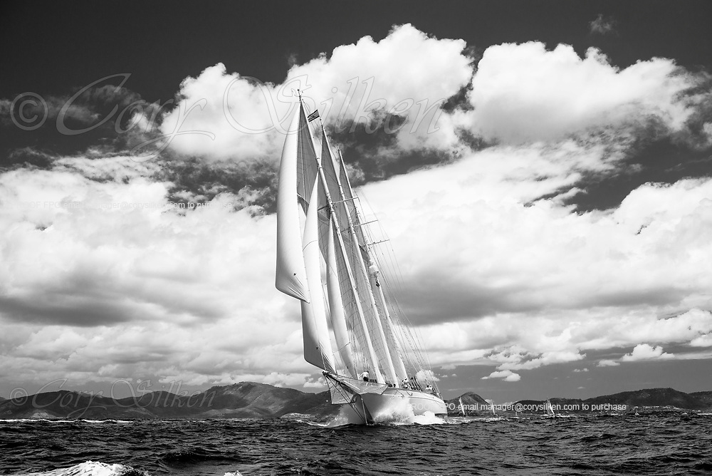 Adix sailing in the Antigua Classic Yacht Regatta, Old Road Race.