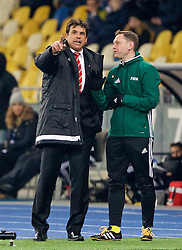 KIEV, UKRAINE - Easter Monday, March 28, 2016: Wales' manager Chris Coleman complains to the fourth official during the International Friendly match against Ukraine at the NSK Olimpiyskyi Stadium. (Pic by David Rawcliffe/Propaganda)