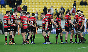 Dejected Canterbury players following their loss during the Mitre 10 Cup rugby match between the Wellington Lions & Canterbury at Westpac Stadium, Wellington. Friday 23rd August 2019. Copyright Photo: Grant Down / www.Photosport.nz