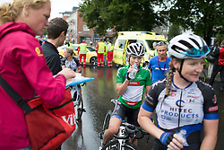 Emilie Moberg (NOR) of Hitec Products Cycling Team drinks water after finishing the 97,1 km second stage of the 2016 Ladies' Tour of Norway women's road cycling race on August 13, 2016 between Mysen and Sarpsborg, Norway. (Photo by Balint Hamvas/Velofocus)