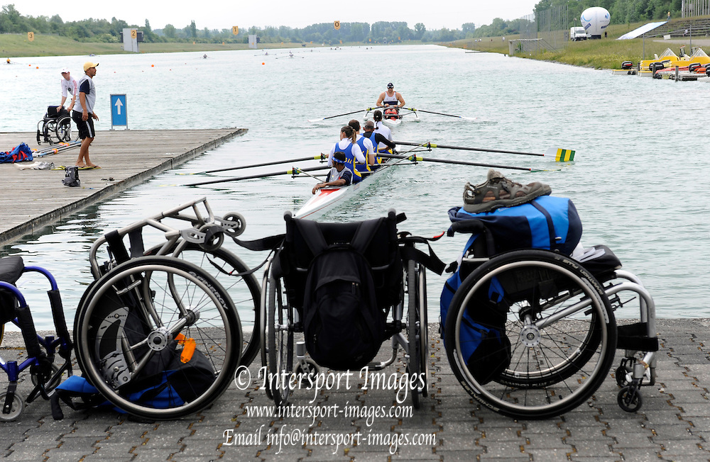 Munich, GERMANY,  General views, GV' s Adaptive crews  Boating area. FISA world Cup Rd 1. Munich Olympic Rowing Course,  Thursday  26/05/2011  [Mandatory Credit Peter Spurrier/ Intersport Images]