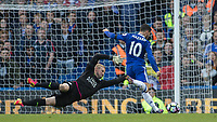 Football - 2016/2017 Premier League - Chelsea V Leicester.<br /> <br /> Eden Hazard of Chelsea rounds the outstretched Kasper Schmeichel of Leicester City to score Chelsea's second goal at Stamford Bridge.<br /> <br /> COLORSPORT/DANIEL BEARHAM