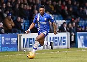 Gillingham defender Ryan Jackson sprints forward with the ball during the Sky Bet League 1 match between Gillingham and Swindon Town at the MEMS Priestfield Stadium, Gillingham, England on 6 February 2016. Photo by David Charbit.