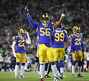 Los Angeles Rams linebacker Dante Fowler (56) gestures to the fans during an NFL football game against the Seattle Seahawks, Sunday, Dec. 8, 2019, in Los Angeles, Calif. The Rams defeated the Seahawks 28-12. (Peter Klein/Image of Sport)