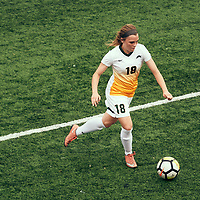 4th year defender, Cassie Longmuir (18) of the Regina Cougars during the Women's Soccer home opener on Sat Sep 08 at U of R Field. Credit: Arthur Ward/Arthur Images