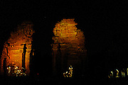 """San Ignacio Minì. The ruins of the church of the Jesuit reducciòn, """"Son et Lumiere"""" spectacle. This mission was founded in 1610 A.D in Portuguese territory and moved in 1696 A.D. in the present location due the constant attacks of the Portuguese Bandeirantes. """"Rediscovered"""" in 1897 A.D. is one of the many missions founded in 1632 by the Jesuits in the Americas during the Spanish colonial period. In the 18th century the mission had a population of around 3000 people, and a rich cultural and handicraft activity but after the Suppression of the Society of Jesus of 1767 the mission finally destroyed in 1817..The remains of the """"Guaraní baroque"""" stile constructions are one of the best preserved among the several build in a territory today belonging to Argentina, Brazil and Paraguay, and one of the most visited due to its accessibility. In 1984 the ruins were declared as World Heritage Site by UNESCO"""