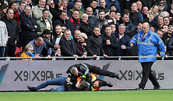 19.03.2017, Riverside Stadium, Middlesbrough, ENG, Premier League, FC Middlesbrough vs Manchester United, 29. Runde, im Bild A Manchester United fan is wrestled to the ground after celebrating their second goal // A Manchester United fan is wrestled to the ground after celebrating their second goal during the English Premier League 29th round match between FC Middlesbrough and Manchester United at the Riverside Stadium in Middlesbrough, Great Britain on 2017/03/19. EXPA Pictures © 2017, PhotoCredit: EXPA/ Focus Images/ Simon Moore<br /> <br /> *****ATTENTION - for AUT, GER, FRA, ITA, SUI, POL, CRO, SLO only*****