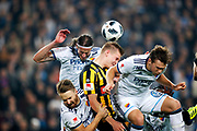 STOCKHOLM, SWEDEN - MARCH 12: Jacob Une Larsson, Jonas Olsson and Jonathan Augustinsson of Djurgardens IF and Juhani Ojala of BK Hacken competes for the ball during the Swedish Cup Quarterfinal between Djurgardens IF and BK Hacken at Tele2 Arena on March 12, 2018 in Stockholm, Sweden. Photo by Nils Petter Nilsson/Ombrello<br /> ***BETALBILD***
