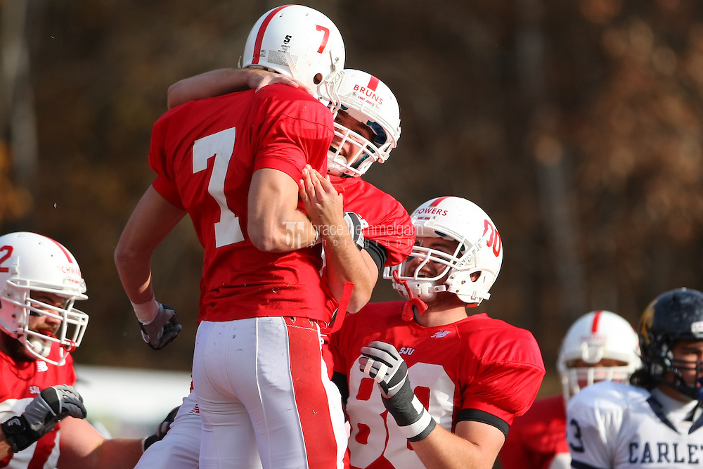 Brent Graboski (7), Connor Bruns (10) and Wade Powers (80). Credit: Brace Hemmelgarn-Saint John's University