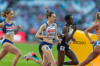 Athletics - 2017 IAAF London World Athletics Championships - Day Seven, Evening Session<br /> <br /> Womens 5000m Round One<br /> <br /> Laura Muir (Great Britain) struggles down the back straight to keep the pace at the London Stadium<br /> <br /> COLORSPORT/DANIEL BEARHAM