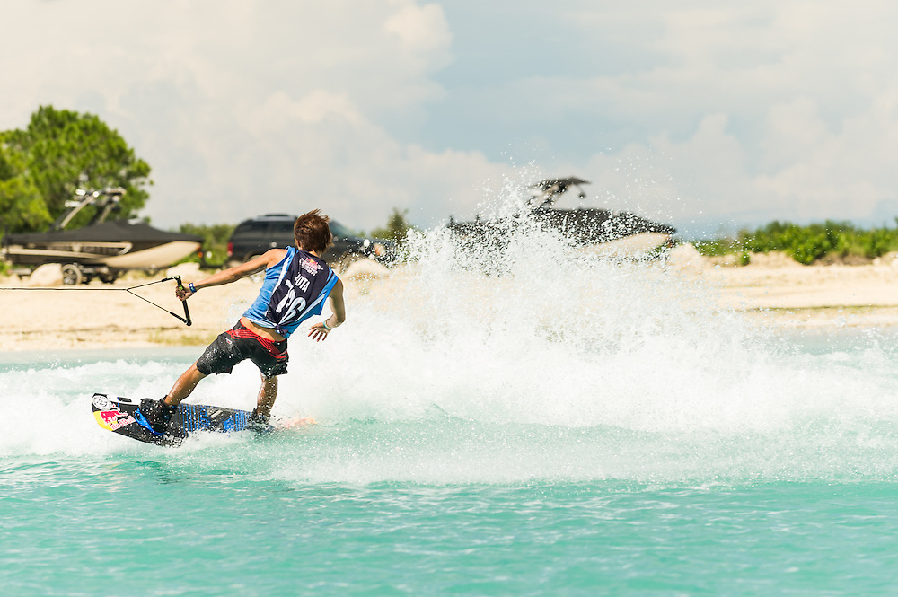 shota Tezuka performs at the Red Bull Wake Open in Tampa Bay, Florida, USA on July 7, 2012