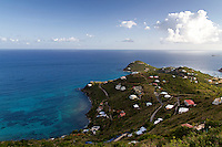 A view of Rendezvous Bay from high up on the island of St John in the US Virgin Islands