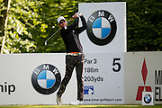 Swedish golf professional Robert Karlsson  tees off on the 5th during the BMW PGA Championship at the Wentworth Club, Virginia Water, United Kingdom on 26 May 2016. Photo by Simon Davies.