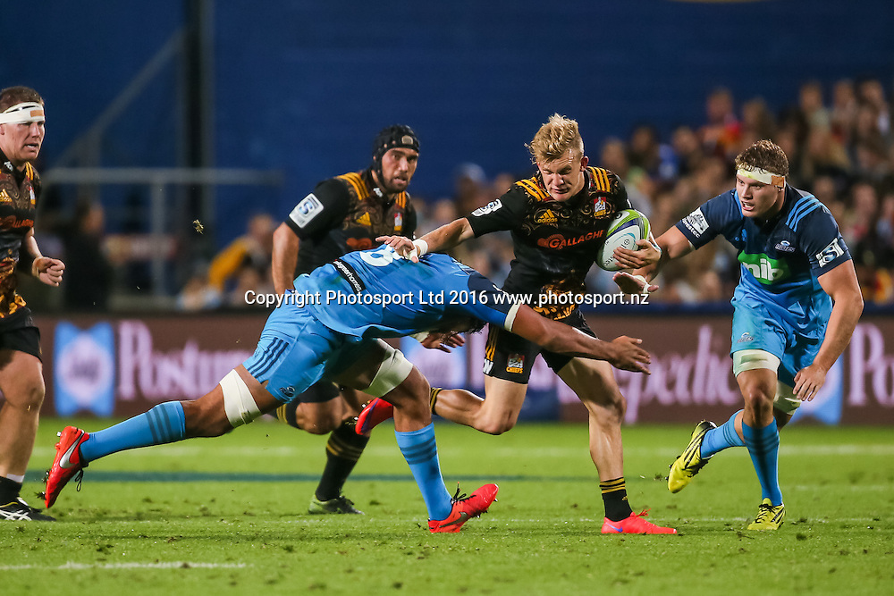 Chiefs fullback Damian McKenzie in action during the Super Rugby match - Chiefs v Blues played at FMG Stadium Waikato, Hamilton, New Zealand on Friday 8 April 2016. <br /> <br /> Copyright Photo: Bruce Lim / www.photosport.nz