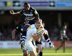 Semesa Rokoduguni of Bath Rugby jumps into Mike Brown of Harlequins - Mandatory byline: Robbie Stephenson/JMP - 07966386802 - 31/10/2015 - RUGBY - Recreation Ground -Bath,England - Bath Rugby v Harlequins - Aviva Premiership