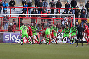 Goalmouth action as Accrington go close during the EFL Sky Bet League 2 match between Accrington Stanley and Forest Green Rovers at the Wham Stadium, Accrington, England on 17 March 2018. Picture by Shane Healey.