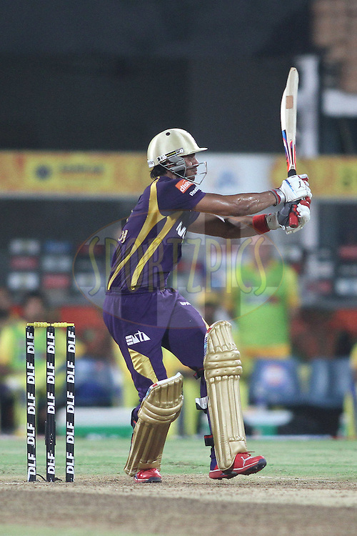 Manoj Tiwary of the Kolkata Knight Riders hits the winning runs and crown Kolkata Knight Riders DLF IPL Champions during the final of the Indian Premier League ( IPL ) 2012  between The Kolkata Knight Riders and the Chennai Superkings held at the M. A. Chidambaram Stadium, Chennai on the 27th May 2012..Photo by Shaun Roy/IPL/SPORTZPICS