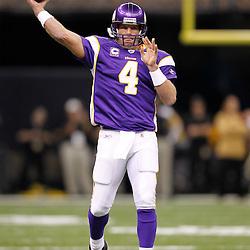September 9, 2010; New Orleans, LA, USA;  Minnesota Vikings quarterback Brett Favre (4) during warm ups prior to the NFL Kickoff season opener between the Minnesota Vikings and the New Orleans Saints at the Louisiana Superdome. Mandatory Credit: Derick E. Hingle