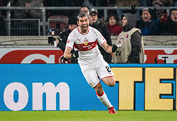 STUTTGART, Feb. 4, 2019  Stuttgart's Emiliano Insua celebrates his scoring during a German Bundesliga match between VfB Stuttgart and SC Freiburg in Stuttgart, Germany, Feb. 3, 2019. The match ended 2-2. (Credit Image: © Kevin Voigt/Xinhua via ZUMA Wire)