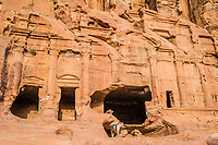donkey and royal tombs in Nabatean Petra Jordan middle east