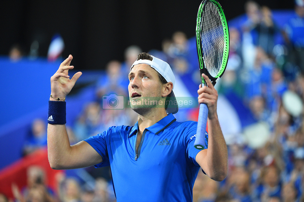 Lucas Pouille (FRA) during his match at the Davis Cup semi final against Spain, in Lille, Stade Pierre Mauroy, France on september, 14, 2018. Photo by Corinne Dubreuil/ABACAPRESS.COM