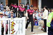 Tom Abell of Somerset leads out Somerset to start the innings during the Royal London One-Day Cup final  between Somerset County Cricket Club and Hampshire County Cricket Club at Lord's Cricket Ground, St John's Wood, United Kingdom on 25 May 2019.