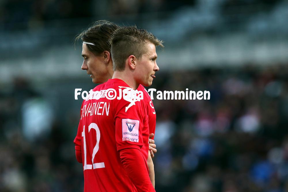 23.4.2015, Sonera Stadion, Helsinki.<br /> Veikkausliiga 2015.<br /> Helsingfors IFK - Helsingin Jalkapalloklubi.<br /> Otto-Pekka Jurvainen &amp; Pekka Sihvola - HIFK